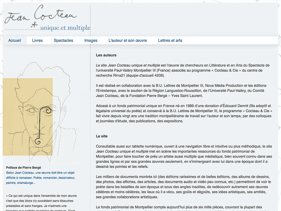 Site web Jean Cocteau, unique et multiple