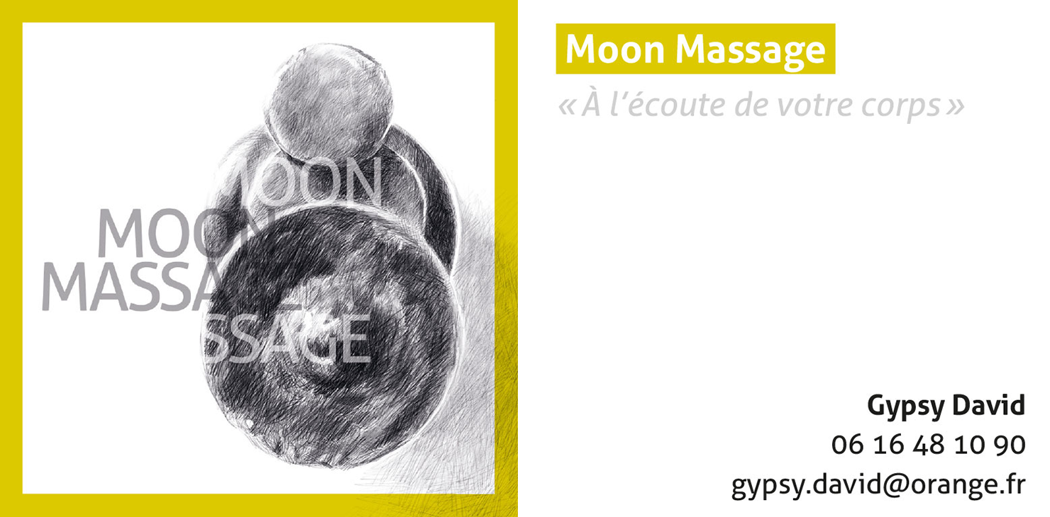 Illustration et carte de visite pour Moon Massage