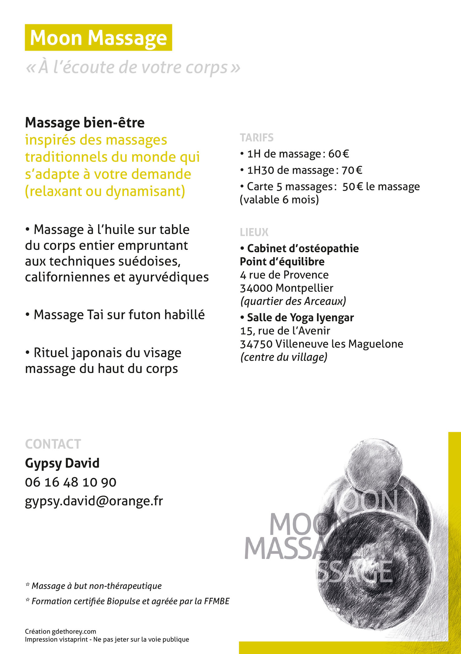 Mise en page d'un flyer pour Moon Massage