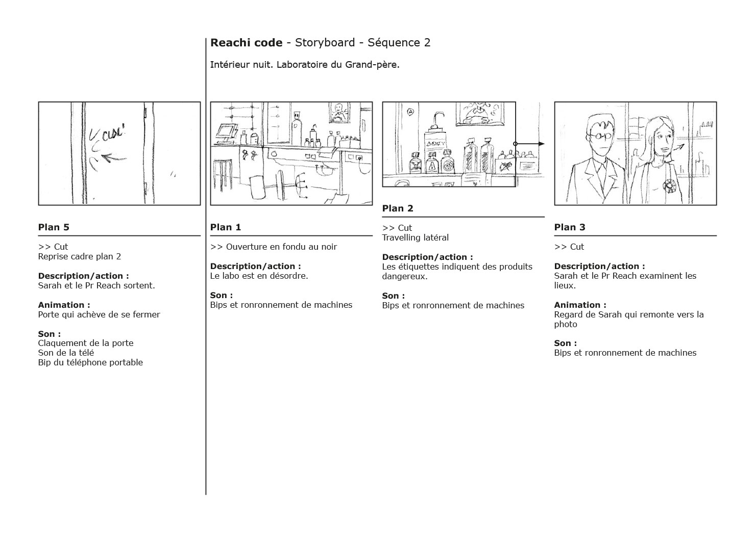 Storyboard du film d'animation Reachi Code