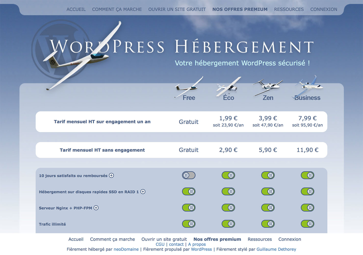 Exemple d'interface du la plateforme WordPress Hébergement