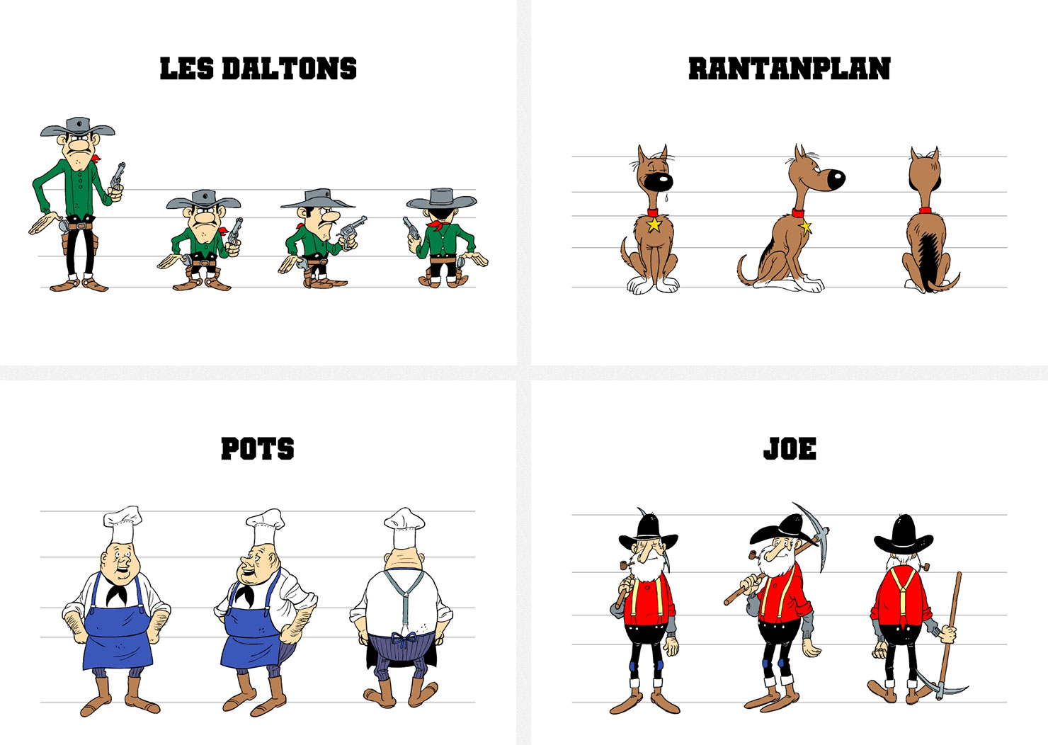 Model sheets pour le cd-rom de jeu Lucky Luke et le fil qui chante