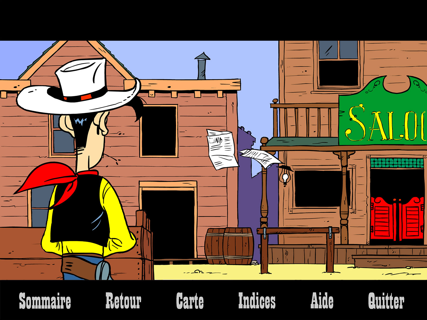 Illustrations et animation pour le cd-rom de jeu Lucky Luke et le fil qui chante